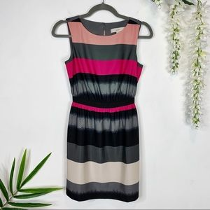 LOFT sheath dress striped sleeveless gray pink 974